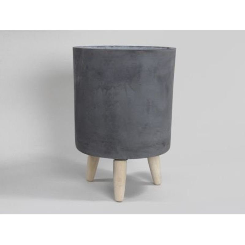 pc. 1 round clay-fiber pot w/legs black Ø31.5x44cm